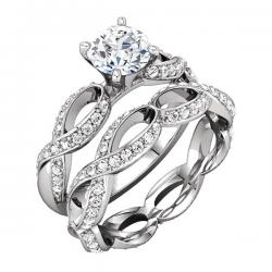 SCULPTURAL SEMI-MOUNT ENGAGEMENT BASE WITH MATCHING SCULPTURAL ETERNITY BAND